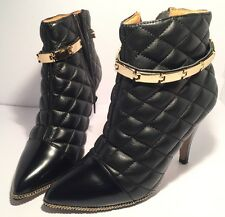 Jeffrey Campbell Vintage Sz 5.5 M Black Leather Ankle Boot 3 Heel Patent Toe Zip