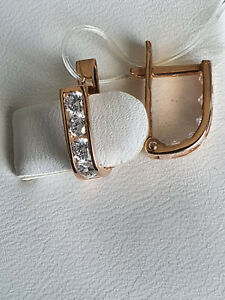 KIds CZ Earrings rose gold 585 14k Russian solid gold  NWT 1.38g stamped