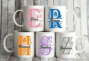 Personalised Any Letter Name Mug Fun Coffee Cup Gift birthday present Her His UK