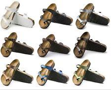 Birkenstock Women Mayari Birko-Flor Leather Suede Cork Footbed Sandals Slides