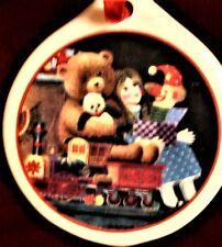Charles Wysocki Flat Ceramic Christmas Ornament - Bears, Train, Clown & Lg Doll