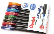 PENTEL Japan Energel ROLLER Gel PENS 8 All Different COLORS INK 0.7 Metal Tip