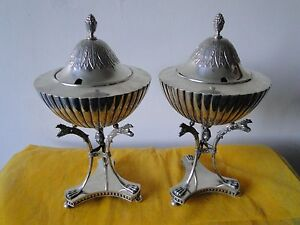 SWEDISH SAUCE TUREENS, STERLING SILVER, 1903, ANTIQUE FULLY MARKED GREAT STYLE