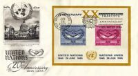 UNITED NATIONS 1965 20th ANNIVERSARY OF THE UNITED NATIONS M/S FIRST DAY COVER