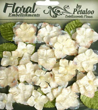 Velvet Hydrangeas 32 flower & leaf mix CREAM - VELVET - 2 to 4cm Petaloo HYD