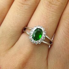 Signed 925 Sterling Silver White Topaz & Green Diopside Gem Wide Ring Size 7
