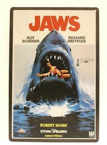 Jaws Tin Sign Vintage Style Movie Poster Ad Home Theater Quints Shark Fishing