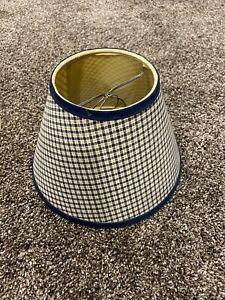 "Lamp Shade 9""  Barn Blue & Tan Check Country Primitive Decor Used"