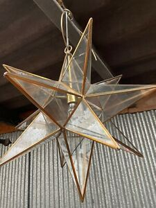 Christopher Wray Asterisk. Large star lantern in antique brass finish