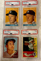 Topps Mickey Mantle 1958,1960 & 1962. PSA Graded (Lot Of 4) Please See Photos