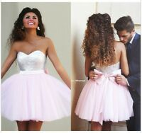 New Pink Short Tulle Bridesmaid Dress Party Prom Dress Homecoming Cocktail Gowns