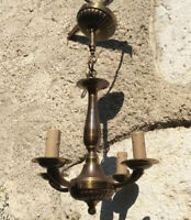 Art Deco French Chandelier Copper Gold 4 Arm Light fixture Ceiling Arts & Crafts