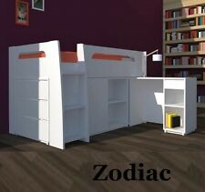 ZODIAC DELUXE SINGLE CABIN BUNK BED LOFT MIDI SLEEPER DESK DRAWERS IN WHITE