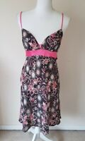 Butterfly Matthew Williamson Black / Pink Patterned Silk Dress Size 12 <CX7091z