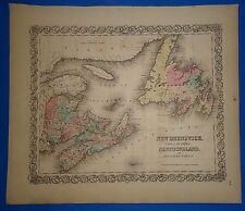 Vintage 1857 CANADIAN MARITIME PROV. Map - Old Hand Colored Colton's Atlas