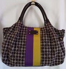 KATE SPADE NY Classic Noel Brown White Purple Yellow Stripe Tote Bag SUPER! NEW!