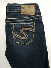 "Silver Frances 22"" Flare Stretch Thick Stitch Womens Jeans Sz 26 x 31"
