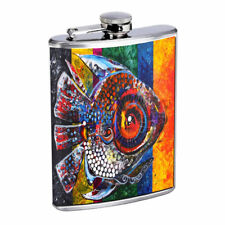 Mosaic Fish Em1 Flask 8oz Stainless Steel Hip Drinking Whiskey
