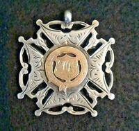 Silver Fob Art Nouveau 1906 Birmingham Inscribed Rose Gold Sterling 12.9 g jmRG