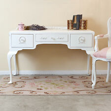 Shabby Cottage Chic White 3-Drawer French Vintage Office Desk Vanity Queen Anne