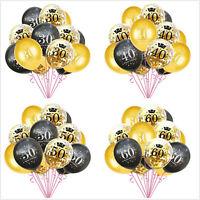 """15Pcs 12"""" 16/18/30/40/50/60/70/80/90 Confetti Balloons Birthday Party Decor"""