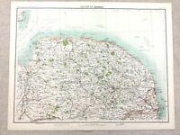 1890 Antique Map of Norwich Norfolk County 19th Century Original