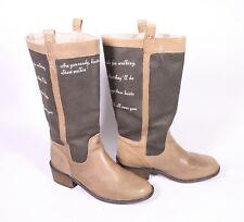 5S Venice Damen Stiefel Boots Leder Canvas braun Gr. 37 Biker Aufdruck