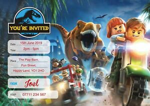 JURASSIC WORLD PERSONALISED BIRTHDAY PARTY INVITES Pack of 10 Invitations