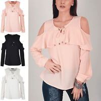 Womens Ladies Mesh Front Tie Knot Ruffle Frill Cold Cut Shoulder Long Sleeve Top