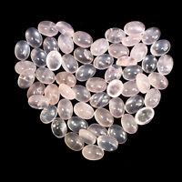 58 Pcs Natural Rose Quartz Beautiful Pink 14mm/12mm Oval Cabochon Gemstones Lot