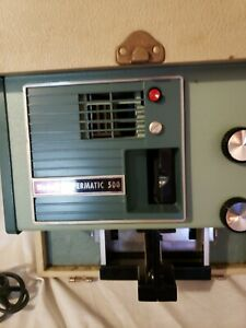 Vintage Kodak Readymatic 500 Slide Projector + Carrying Case BoxTESTED & WORKS!