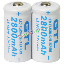 2x 3.7V CR123A 123A CR123 16340 2800mAh GTL Rechargeable Battery Cell White