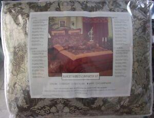 10 pc KING PAISLEY Gold Jade Sage Green Comforter w/ Shams, Bed Skirt & Pillows