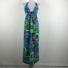 Vintage 1960s Maxi Dress XS S Barkcloth Blue Green Purple Halter Hawaiian Floral