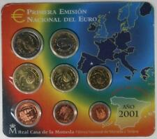 Euro Set  con los Euros de  España 2001 FNMT PRIMERA EMISIÓN NACIONAL DEL EURO