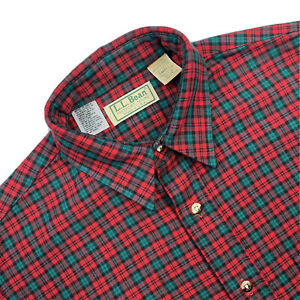 NEW VTG S LL Bean Red / Green Plaid Heavy Cotton Interior Lined Flannel Made USA