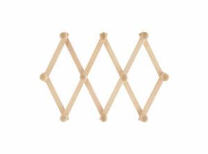 Appendi abiti estensibile a fisarmonica in legno chiaro da muro 10 pomelli