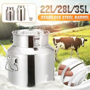 Milk Can Stainless Steel Wine Pail Bucket Jug Oil Barrel Canister Bottle 22L-35