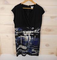 Chico's Sz 3 (XL) Dress Crossover Sleeveless Sheath Blue Black Print Career Wear