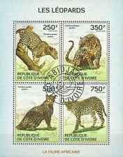 Timbres Animaux Félins Léopards Cote d'Ivoire 1322/5 o année 2014 lot 18777