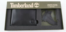 TIMBERLAND Men's Black Genuine Leather Slimfold Wallet and Key Fob - Boxed