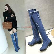 Womens Over Knee High Boots Denim Ripped Hole Zip Riding Chunky Low Heel Shoes