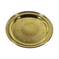 "Vintage Baldwin Brass Round Etched Serving Platter Drink Tray 12"" MCM Gold Tone"