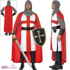 Mens Crusader Knight Costume Adults St Georges Hero Stag Medieval Fancy Dress