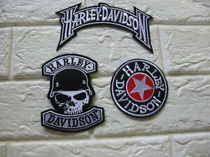 3x Aufnäher Patch Motorcycles Harley-Davidson Racing Motorradsport Biker Race GT
