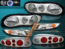 98-02 CHEVY CAMARO HALO CHROME HEADLIGHT + BUMPER LAMPS + TAIL LIGHTS