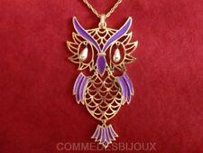 """Collier """"Gros Hibou"""" N° 1 Double Mouvance Owl Duc Forêt - Bijoux pur Bestiaire"""