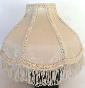 """Vtg Lamp Shade Ivory Cream Floral Victorian Damask Fringe 8 Panel 7x3.5x11"""" EUC"""