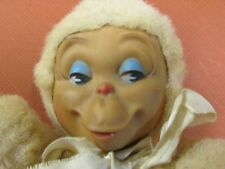 "VINTAGE 1940-50'S KNICKERBOCKER TOY CO MONKEY KUDDLES NEW YORK 8"" TALL RIBBON"