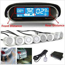 8 Silver Parking Sensor Dual-core Double LCD Display Car Reverse Radar Alarm Kit